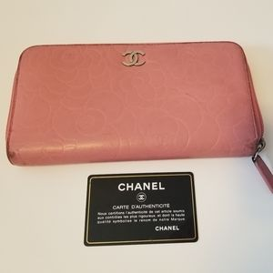Authentic Chanel Camellia Embossed Wallet